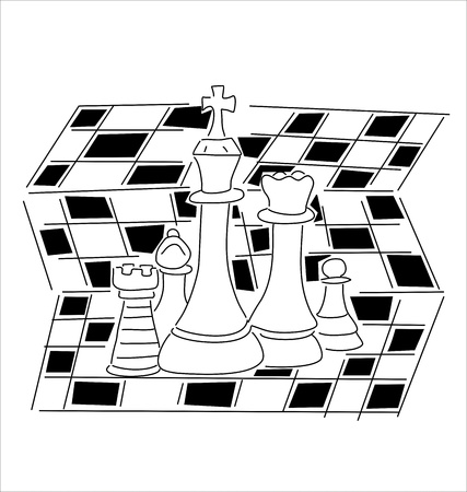 chess pieces on black and white board Stock Vector - 15486813