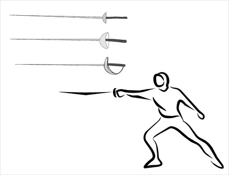 fencing man and different weapons Stock Vector - 15486827