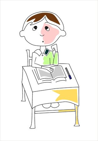memorize: student sitting at his desk Illustration