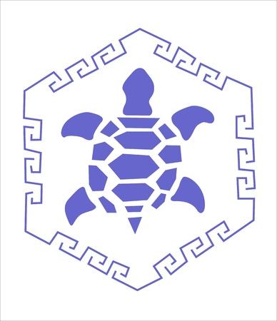 blue turtle on white background