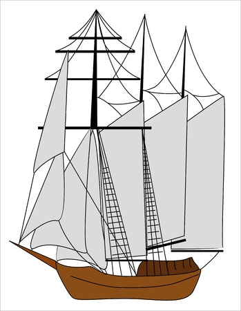 stern: illustration of a ship with many sails Illustration