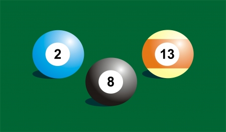 numeration: three billiard balls on green background