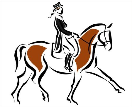 coordinacion: mujer que monta un caballo Vectores