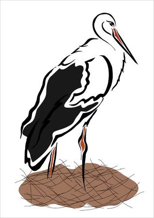 oviparous: drawing of a stork in its nest Illustration