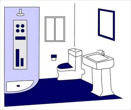 bathroom in blue and white Vector