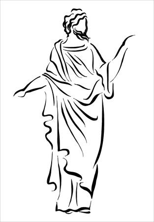 tekening van een Griekse filosoof