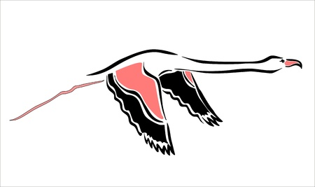 drawing of a flying flamingo