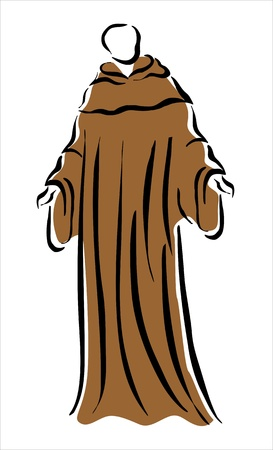 humility: drawing of a monk in a brown robe