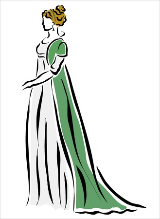 tied up: drawing of a woman in a green dress