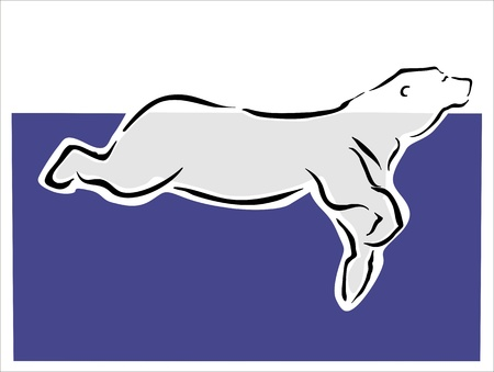 drawing of a polar bear swimming Vector