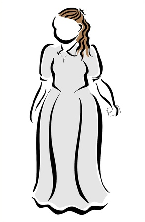 girl making her first holy communion Vector