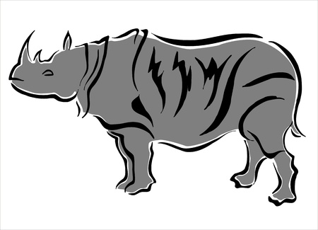 hardness: drawing of a rhino Illustration