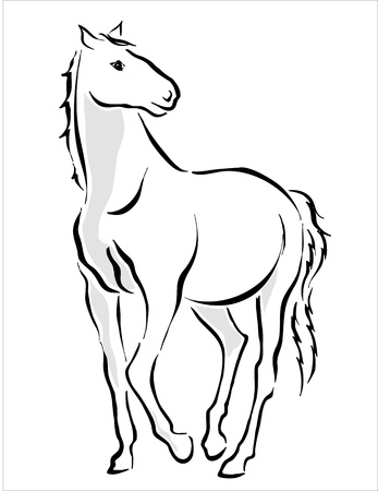 drawing of a white horse