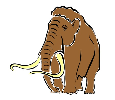 mammoth: drawing of a brown mammoth