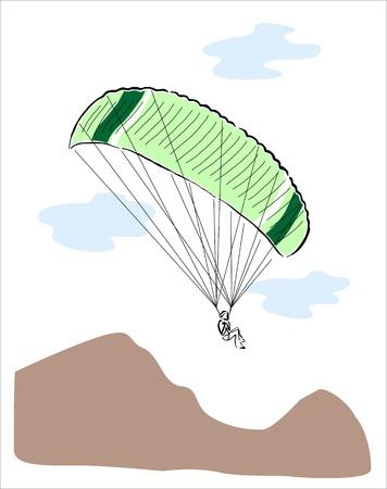 parapente: dibujo de un chico haciendo parapente Vectores
