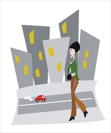 monotony: woman walking in the grey city