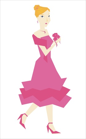 bridesmaid dressed in pink Stock Vector - 19265888