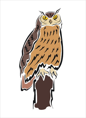 drawing of an owl on a tree trunk Illustration