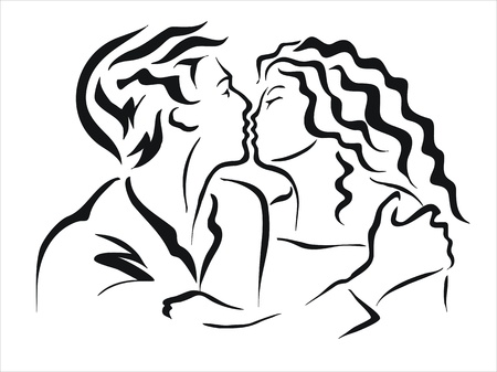 drawing of a couple kissing Stock Vector - 19375270