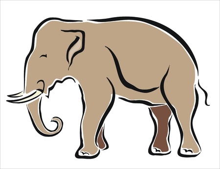 domestication: drawing of an asian elephant Illustration