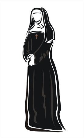 convent: drawing of a nun in her habit