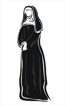 nun: drawing of a nun in her habit