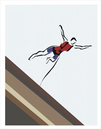 bungee jumping: dibujo de un hombre haciendo puenting Vectores