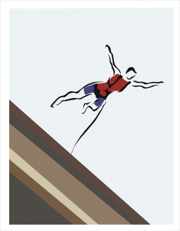 drawing of a man doing bungee jumping Stock Vector - 19371178