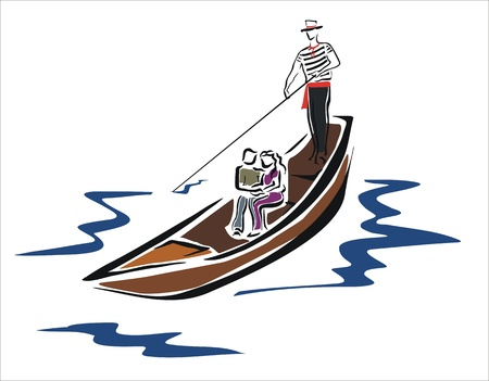 drawing of a gondola in venice with couple Vector