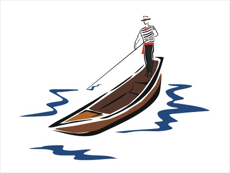 gondolier: drawing of a gondola in venice
