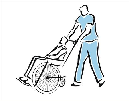 vieil homme assis: infirmi�re prenant un patient dans un fauteuil roulant Illustration