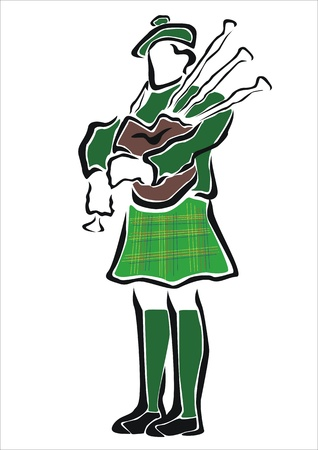 piper playing bagpipes Stock Vector - 19425268
