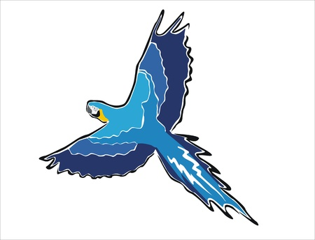 oviparous: drawing of a blue macaw flying