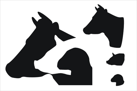 several icons about farm animals
