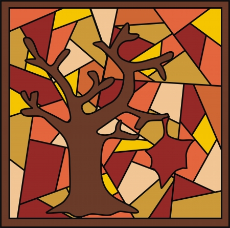 stained glass with a tree in autumn