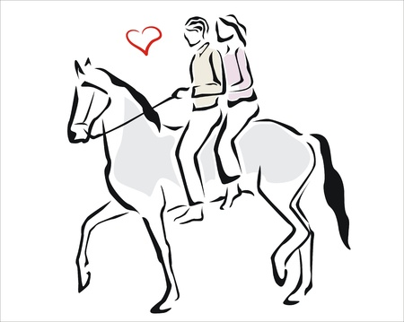 passion couple: couple in love riding a horse