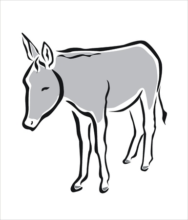 drawing of a grey donkey