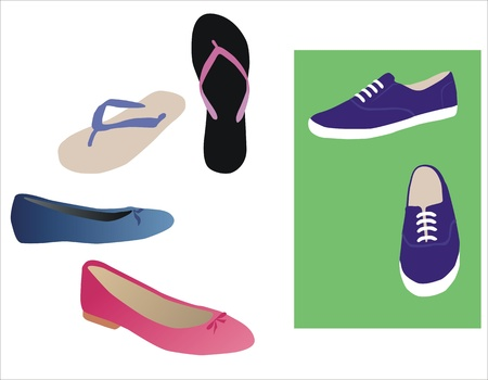 drawing of a various tipes of footwear Vector