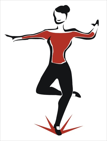 tap dance: a young girl tap dancing Illustration