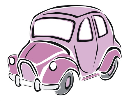 headlamp: drawing of a pink car Illustration