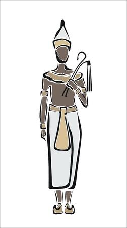 egyptian pharaoh: drawing of an egyptian pharaoh Illustration