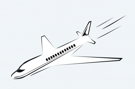 drawing of an airplane in the sky