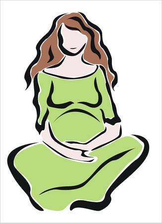 pregnant woman sitting quietly Stock Vector - 20686484