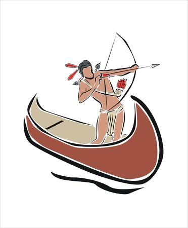 indios americanos: indio con su arco apuntando Vectores