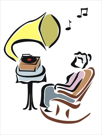 listening to music on old gramophone