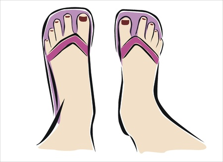 drawing of two feet with flip flop Vector