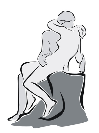 passion couple: statue of a man and woman kissing