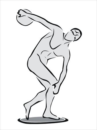 drawing of the discus thrower 向量圖像