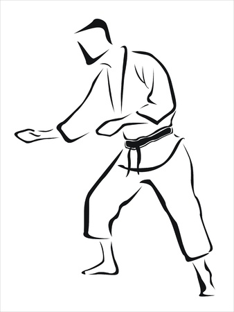 karateka: drawing of a karateka Illustration