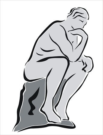 deduce: drawing of the statue of the thinker